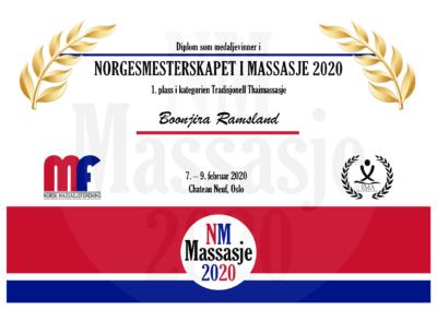 Boonjira Ramsland Tradisjonell Thaimassasje Norgesmesterskap Massasje 2020