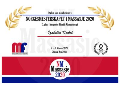 Izabella Kakol Klassisk Massasjeterapi Norgesmesterskap Massasje 2020