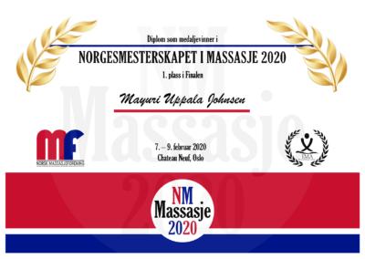 Mayuri Uppala Johnsen Finale Norgesmesterskap Massasje 2020