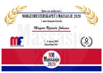 Mayuri Uppala Johnsen Freestyle Norgesmesterskap Massasje 2020